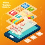 Isometric financial secure set. Isometric mobile financial secure and business elements with smartphone vector illustration Royalty Free Stock Photos