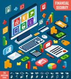 Isometric financial secure set Royalty Free Stock Image
