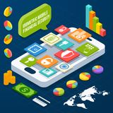 Isometric financial secure set. Isometric financial security and business elements with smartphone vector illustration Royalty Free Stock Photo