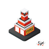 Isometric fire department icon, building city infographic element, vector illustration Stock Photos