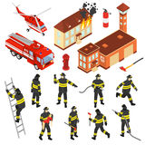 Isometric Fire Department Icon Set. Colored isometric fire department icon set with attributes to extinguish a fire and firefighters vector illustration Stock Images
