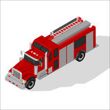 Isometric Fire Truck. Stock Photo