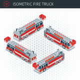 Isometric fire truck. 3d  transport icon. Highly detailed  illustration Royalty Free Stock Photos