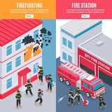 Isometric Firefighter Banners Stock Photos