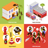 Isometric Firefighter 2x2 Concept. Isometric firefighter 2x2 design concept with firefighting brigade equipment and station isolated on colorful backgrounds 3d Royalty Free Stock Images