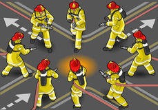 Isometric firefighter extinguisher Stock Photos