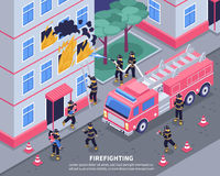 Isometric Firefighter Illustration Stock Images