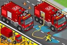 Isometric Firefighter Tank Truck in Front View. Detailed illustration of a Isometric Firefighter Tank Truck in Front View Stock Photo