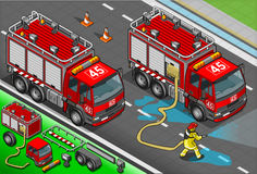 Isometric Firefighter Truck in Front View. Detailed illustration of a Isometric Firefighter and Truck in front view Stock Photos