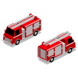 Isometric firefighter truck  in isolated white background. Isometric red firefighter truck in isolated white background. The style is cell shaded, but cell Royalty Free Stock Photo