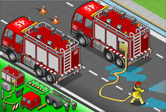 Isometric Firefighter Truck in Rear View. Detailed illustration of a Isometric Firefighter and Truck in rear view Stock Photos