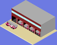 Isometric firehouse and fire truck in vecto Royalty Free Stock Images