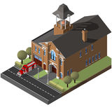 Isometric firehouse and firetruck. Stock Image