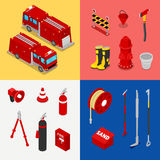 Isometric Fireman Equipment with Tank Truck and Hydrant Stock Photos
