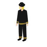 Isometric fireman icon. Fireman in uniform in isometric style for infographic and game design Royalty Free Stock Photos