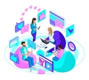 Isometric firma nastolatkowie z nowożytnymi gadżetami, komunikuje w ogólnospołecznych sieciach i internecie ilustracja wektor