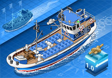 Isometric Fishing Boat in Navigation in Front View Stock Photo