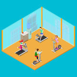 Isometric Fitness Club with Training Apparatus and Active People. Healthy Lifestyle. Vector illustration Stock Image