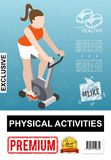 Isometric Fitness Colorful Poster stock illustration