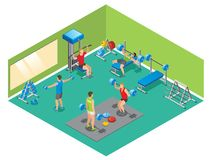 Isometric Fitness Concept. With strong people lifting dumbbells and barbells in gym isolated vector illustration stock illustration