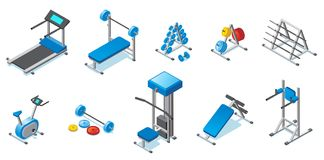 Isometric Fitness Equipment Collection. With treadmill dumbbells barbells exercise bike and different trainers isolated vector illustration Stock Image