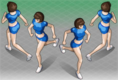 Isometric Fitness Running Woman in Two Positions Stock Photo