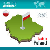 Isometric flaga Polska Polska republika i mapa, oficjalnie Kraj w Środkowym Europa Zdjęcia Royalty Free