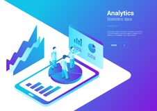 Isometric Flat Analytics Marketing Strategy Vector Illustration. People standing on Smartphone with Statistics Charts.  Stock Photos