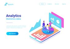 Isometric Flat Analytics Marketing Vector People S stock illustration