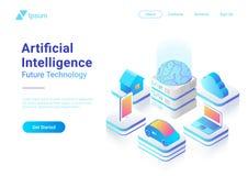Isometric flat Artificial Intelligence Brain techn vector illustration