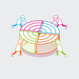 Isometric flat Business people diagram vector Data royalty free illustration