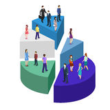 Isometric flat Business People Stand On Pie Diagram Success. Isometric flat 3D isolated concept  Business People Group Stand On Pie Diagram Success Teamwork Royalty Free Stock Photo