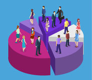 Isometric flat Business People Stand On Pie Diagram Success. Isometric flat 3D isolated concept  Business People Group Stand On Pie Diagram Success Teamwork Royalty Free Stock Photography