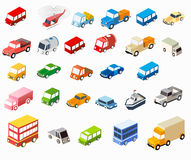 Isometric flat cars vector illustration