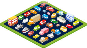 Isometric flat cars Royalty Free Stock Images