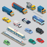 Isometric flat City vehicle railway flying transport Royalty Free Stock Photography