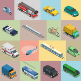 Isometric flat City vehicles. Isometric flat vehicle, railway, flying transport vector illustration set. 3d Isometry City service and specialized transportation Royalty Free Stock Images