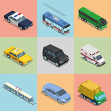 Isometric flat City vehicles Royalty Free Stock Photography