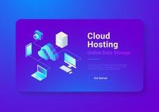 Isometric Flat Cloud computing Network vector Onli royalty free illustration