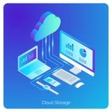 Isometric Flat Cloud Hosting Network Storage vecto vector illustration
