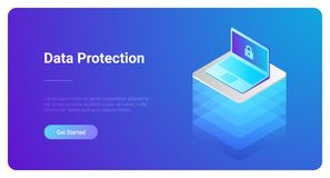 Isometric Flat Laptop Notebook vector. Protection royalty free illustration