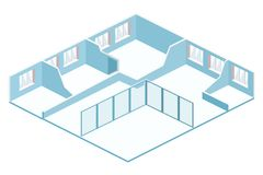 Isometric flat 3D abstract interior empty room. White illustration room Royalty Free Stock Photography