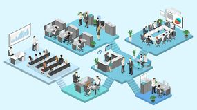 Isometric flat 3d abstract office floor interior departments concept . Conference hall, offices, workplaces, director of the office interior Royalty Free Stock Images