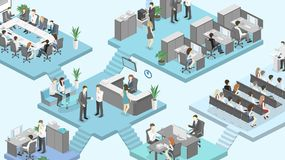 Isometric flat 3d abstract office floor interior departments concept . Conference hall, offices, workplaces, director of the office interior Stock Image