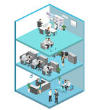 Isometric flat 3d abstract office floor interior offices. Isometric flat 3d abstract office floor interior departments concept . conference hall, offices Royalty Free Stock Photo