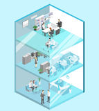 Isometric flat 3d abstract office floor interior offices. Isometric flat 3d abstract office floor interior departments concept . conference hall, offices Stock Image