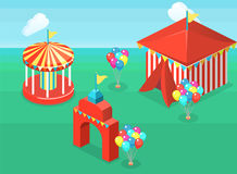 Isometric flat 3D  city banners with carousels. amusement park. Isometric flat 3D  concept  city banners with carousels. amusement park Stock Photography
