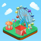 Isometric flat 3D  city banners with carousels. amusement park Stock Photos