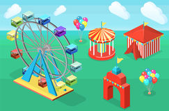 Isometric flat 3D  city banners with carousels. amusement park Stock Images