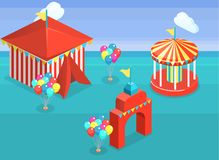Isometric flat 3D  city banners with carousels. amusement park. Isometric flat 3D isolated concept  city banners with carousels. amusement park Royalty Free Stock Photography